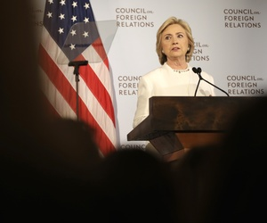 Democratic presidential candidate Hillary Rodham Clinton speaks at the Council on Foreign Relations in New York, Thursday, Nov. 19, 2015.