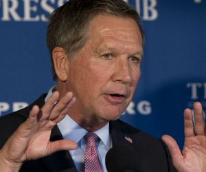 "Republican presidential contender Ohio Gov. John Kasich called for a new agency to promote ""Judeo-Christian Western values"" abroad."