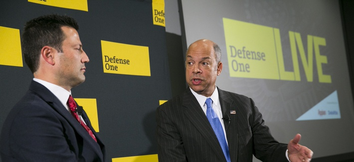 "Secretary of Homeland Security Jeh Johnson speaks at a Defense One ""leadership briefing"" in Washington, Monday, Dec. 7, 2015, on the agency's efforts to tackle growing terrorism threats in the U.S. and abroad."