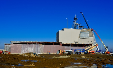 Vertical construction of the Aegis Ashore ballistic missile defense project continues Jan. 14 in Deveselu, Romania.