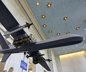 A model of the General Atomics Predator B MQ-9 Reaper, unmanned aerial vehicle (UAV), is on display in the Rayburn House Office Building on Capitol Hill in Washington Wednesday, Sept. 22, 2010.