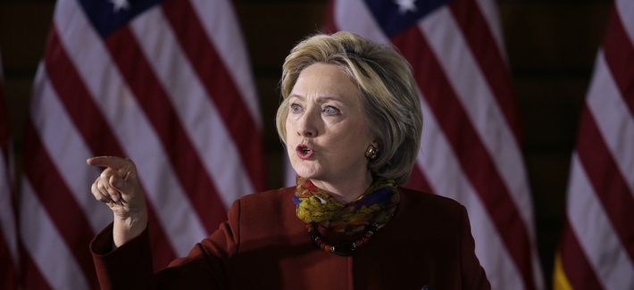 Democratic presidential candidate Hillary Clinton speaks about her counterterrorism strategy during a speech at the University of Minnesota Tuesday, Dec. 15, 2015, in Minneapolis.