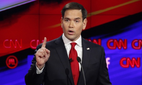 Marco Rubio makes a point during the CNN Republican presidential debate at the Venetian Hotel & Casino on Tuesday, Dec. 15, 2015, in Las Vegas.