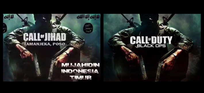 Images from an ISIS recruiting video depict icons from western video games, Hollywood, and popular culture.