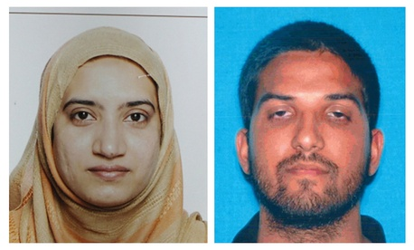 This undated combination of file photos provided by the FBI, left, and the California Department of Motor Vehicles shows Tashfeen Malik, left, and Syed Farook.