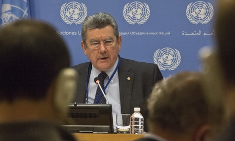 Uruguay's U.N. Ambassador Elbio Rosselli, current president of the Security Council, speaks during a news conference following a closed meeting of the council on Monday, Jan. 4, 2016