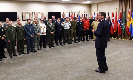 Secretary of Defense Ash Carter thanks coalition troops at United States Central Command on Jan. 14, 2016.