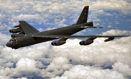 A B-52 Stratofortress deployed to RAF Fairdford, England from Barksdale Air Force Base, La., prepares to air refuel with a KC-135 Stratotanker from RAF Mildenhall, England over the United Kingdom June 11, 2014.