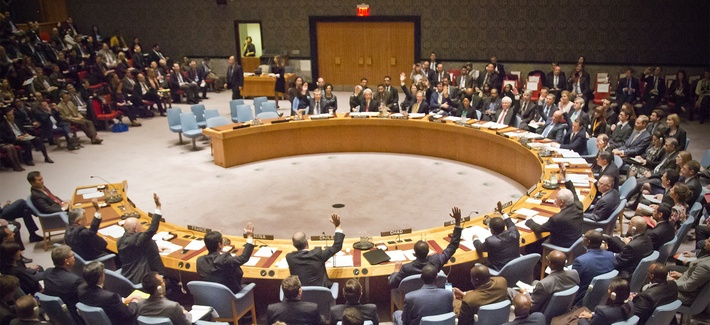 A gathering of global financial ministers vote together for the first time on a anti-terrorism resolution in the U.N. Security Council, Thursday, Dec. 17, 2015 at U.N. headquarters.