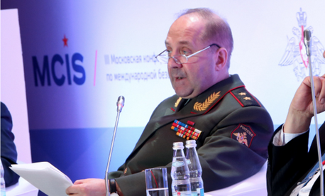 Then-Lt. Gen. Igor Sergun speaks at a conference on international security in Moscow in 2014.