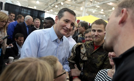 U.S. Senator Ted Cruz speaking with attendees at the 2015 Iowa Growth & Opportunity Party at the Varied Industries Building at the Iowa State Fairgrounds in Des Moines, Iowa.