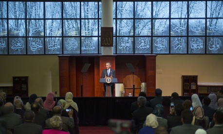 President Barack Obama speaks to members of the Muslim-American community at the Islamic Society of Baltimore, Wednesday, Feb. 3, 2016, in Baltimore, Md.