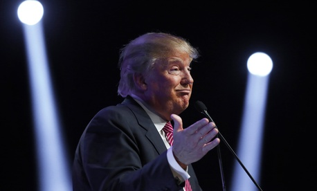 Republican presidential candidate Donald Trump speaks during a campaign stop Monday, Feb. 15, 2016, in Greenville, S.C.