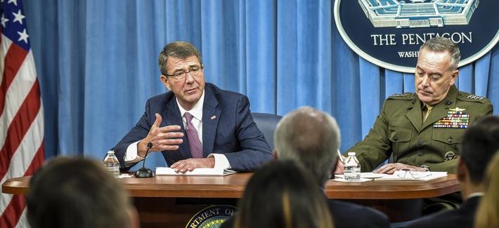 Defense Secretary Ash Carter and Gen. Joseph Dunford, Joint Chiefs chairman, at the Pentagon, Feb. 29, 2016.