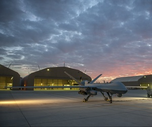 An unmanned MQ-9 Reaper at Kandahar Airfield, Afghanistan, Dec. 6, 2015.