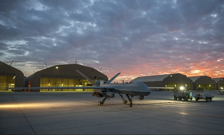 An unmanned MQ-9 Reaper at Kandahar Airfield, Afghanistan, Dec. 6, 2015.