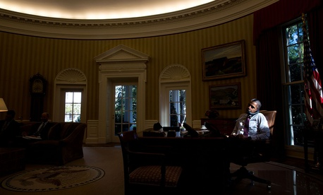 President Barack Obama speaking with Abu Dhabi Crown Prince Sheikh Mohammed Bin Zayed Al Nahyan on Oct. 16, 2015.