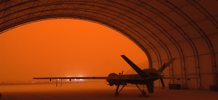 An MQ-9 Reaper sits in a hanger during a sandstorm at Joint Base Balad, Iraq, Sept. 15, 2008.
