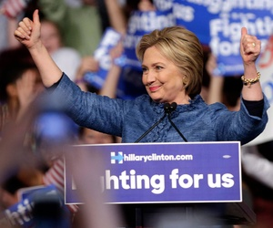 Clinton celebrates in Florida Tuesday.