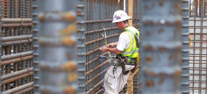A construction worker installs reinforcing steel in at the Savannah River Site MOX facility.