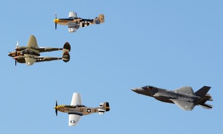 The F-35 Lightning II flies with a P-38 Lightning and two P-51 Mustangs at Davis-Monthan Air Force Base, Ariz., in March 2016.