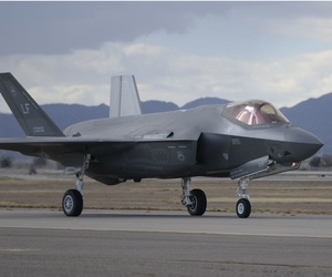 An F-35 returns to Luke Air Force Base, Arizona.