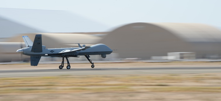 An MQ‐9 Reaper flies from the Southern California Logistics Airport in Victorville, Calif., July 30, 2014