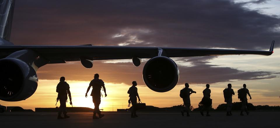 U.S. Marines arrive in Darwin, Australia to begin preparation for exercise Marine Rotational Force-Darwin (MRF-D) on April 13, 2016.