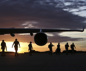 U.S. Marines arrive in Darwin, Australia to begin preparation for exercise Marine Rotational Force-Darwin (MRF-D) on April 13, 2016.