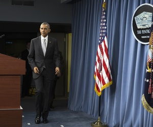 President Barack Obama arrives to speak at the Pentagon, Monday, Dec. 14, 2015, about the fight against the Islamic State group following a National Security Council meeting.