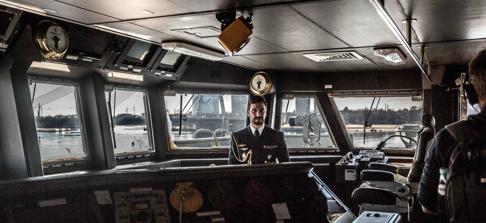 Inside the bridge of Spanish ship Alvaro de Bazan at Riga, Spain, March 24, 2016.