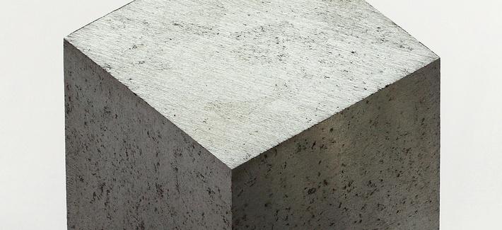 A cubic centimeter of lutetium, a rare-earth metal.