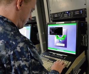 A U.S. sailor aboard the amphibious assault ship USS Makin Island (LHD 8), in San Diego, Oct. 21, 2015.