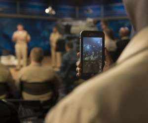 "A U.S. sailor at an ""all hands call"" at Defense Media Activity at Fort George G. Meade, Md., Oct, 6, 2015."