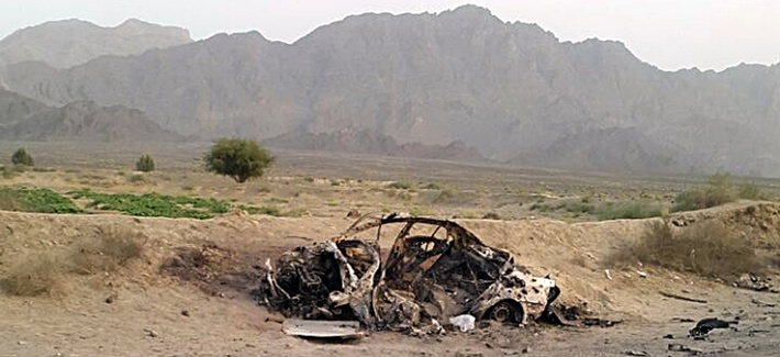 This photo taken by a freelance photographer Abdul Salam Khan using his smart phone on Sunday, May 22, 2016, purports to show the destroyed vehicle in which Mullah Mohammad Akhtar Mansour was traveling in the Ahmad Wal area in Baluchistan, Pakistan.