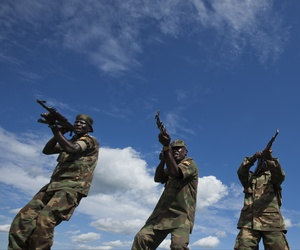 Soldiers from the Uganda People's Defence Force (UPDF) engage in weapons training at the Singo training facility in Kakola, Uganda Monday, April 30, 2012.