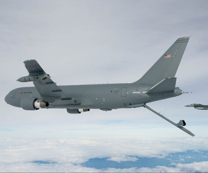 The KC-46A Pegasus deploys the centerline boom for the first time on Oct. 9, 2015.
