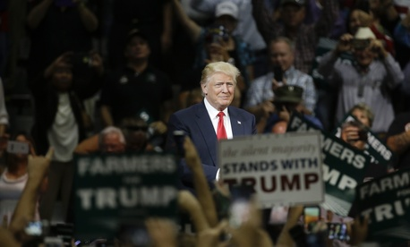 Republican presidential candidate Donald Trump speaks during a rally, Friday, May 27, 2016 in Fresno, Calif.