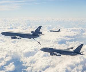 An Air Force KC-10 refuels a new KC-46 tanker during flight testing.