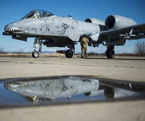A member of the 100th Logistics Readiness Squadron refuels a 74th Expeditionary Fighter Squadron A-10C Thunderbolt II in February.