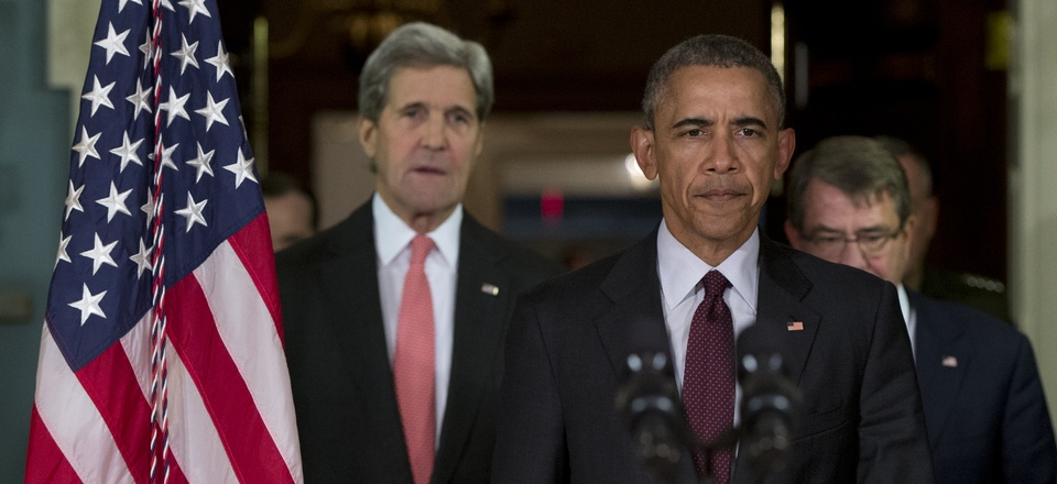 President Barack Obama emerges from a National Security Council meeting at the State Dept., Feb. 2016, with Secretary of State John Kerry, left, Defense Secretary Ash Carter, right, and Joint Chiefs Chairman Gen. Joseph Dunford.