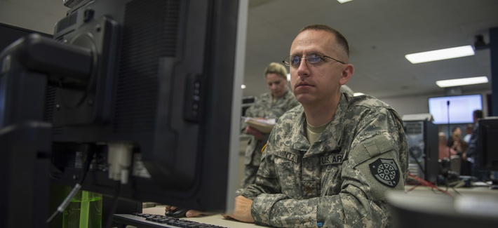 SUFFOLK, Va. (June 16,2016) Participants at Cyber Guard 2016 works through a training scenario during the nine-day exercise Suffolk, Va., June 16, 2016.