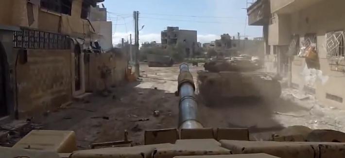 GoPro footage of a Syrian Arab Army tank