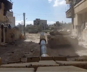 GoPro footage of a Syrian Arab Army tank