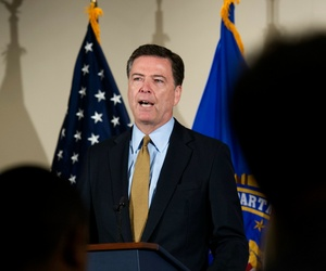 FBI Director James Comey spoke Tuesday at FBI headquarters.