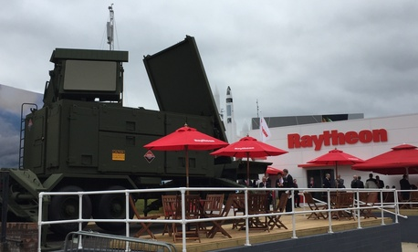 A mockup of a new Patriot anti-missile radar on display at the Raytheon chalet at the 2016 Farnborough Air Show.