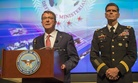 Secretary of Defense Ash Carter and U.S. Army Gen. Joseph Vogel, U.S. Central Command commander, give a press conference during a meeting of defense ministers of the Global Coalition to Counter ISIL July 20, 2016, at Joint Base Andrews, Md.