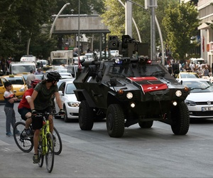 A police APC drives in the city center in Ankara, Turkey, Friday, July 22, 2016.