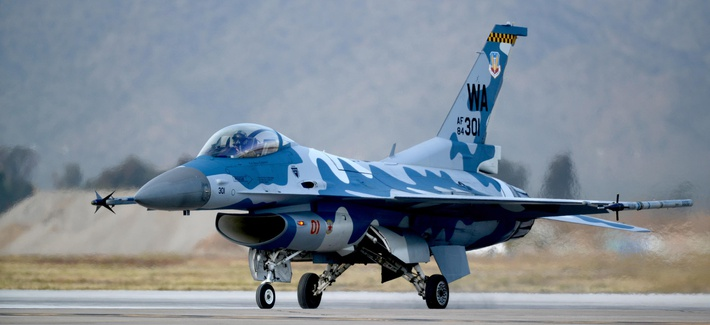 An F-16 from the 64th Aggressor Squadron.