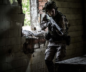 A Latvian National Guardsman training at an undisclosed location, June 5, 2016.